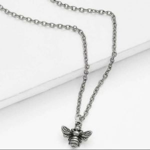Silver Dainty Bee nature trendy charm necklace